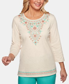 Alfred Dunner Coastal Drive Embroidered Studded Top