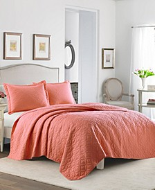 Solid Coral Quilt Set, Full/Queen