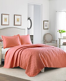 Laura Ashley Solid Coral Quilt Set, Full/Queen