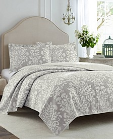 Rowland Grey Quilt Set, Full/Queen