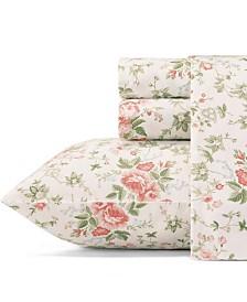 Laura Ashley Lilian Pastel Red Sheet Set, Queen