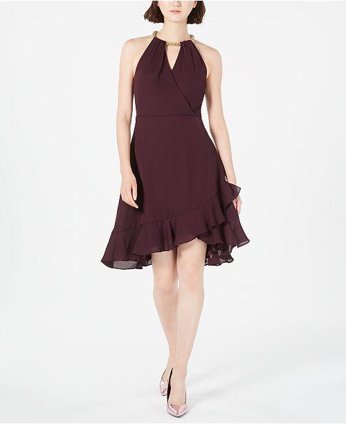 Calvin Klein Solid Chiffon Halter Dress