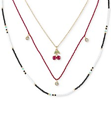 "RACHEL Rachel Roy Gold-Tone Crystal, Bead & Wrapped Thread Layered Necklace, 16"" + 2"" extender"