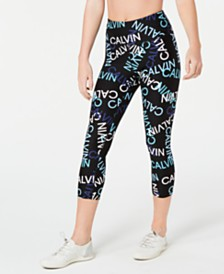 Calvin Klein Performance Logo-Print High-Waist Cropped Leggings