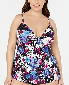 Island Escape Plus Size Swim Society Floral Printed Scorpio Tankini Top, Created for Macy's
