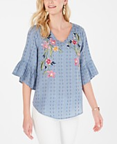 5d71fb21067998 Style & Co Embroidered Flutter-Sleeve Top, Created for Macy's