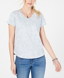 Style & Co Petite Printed Cotton T-Shirt, Created for Macy's