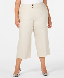 Alfani Plus Size High-Waist Wide-Leg Capris, Created for Macy's