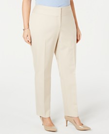 Alfani Plus Size Slim Tummy-Control Pants,  Created for Macy's