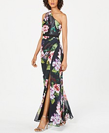 Floral-Print One-Shoulder Gown