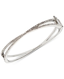 Silver-Tone Criss-Cross Crystal Bangle Bracelet