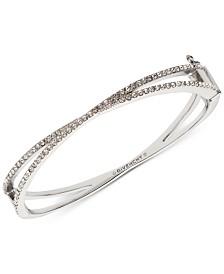 Givenchy Silver-Tone Criss-Cross Crystal Bangle Bracelet