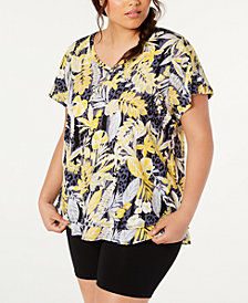 Calvin Klein Performance Plus Size Cotton Island Cheetah Printed T-Shirt