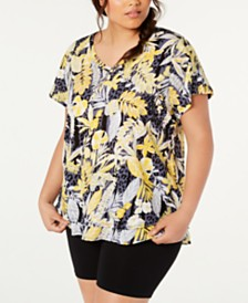 Calvin Klein Performance Plus Size Cotton Island Cheetah Printed T-Shirt