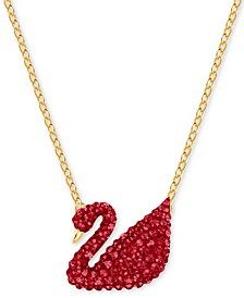 "Gold-Tone Red Crystal Swan 14-7/8"" Pendant Necklace"