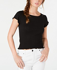 Juniors' Cotton Ruffled T-Shirt
