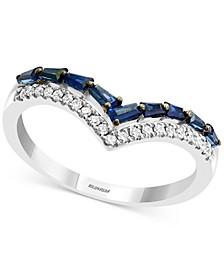 EFFY® Sapphire (1/2 ct. t.w) & Diamond (1/8 ct. t.w.) Statement Ring in 14k White Gold