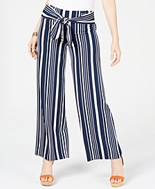 INC Petite Striped Tie-Waist Pants, Created for Macy's