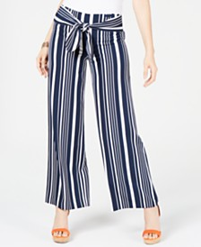 I.N.C. Petite Striped Tie-Waist Pants, Created for Macy's