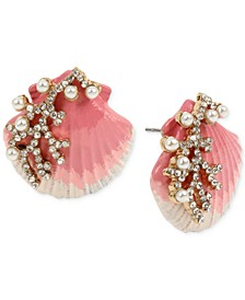 Gold-Tone Imitation Pearl & Crystal Shell Stud Earrings