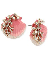 22e3fe89d Betsey Johnson Gold-Tone Imitation Pearl & Crystal Shell Stud Earrings