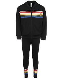 Ideology Little Girls Rainbow Stripe Bomber Jacket & Leggings Separates, Created for Macy's