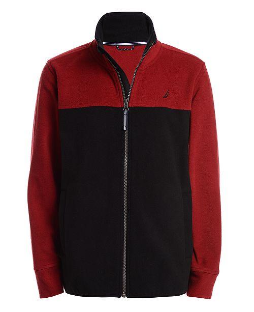 Nautica Little Boys Grant Red Colorblocked Full-Zip Fleece Jacket