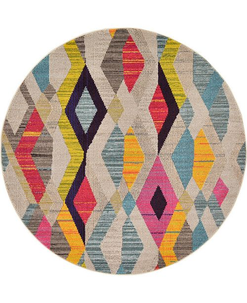 Bridgeport Home CLOSEOUT! Arcata Arc6 Multi 6' x 6' Round Area Rug