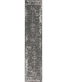 "Basha Bas1 Dark Gray 2' x 9' 10"" Runner Area Rug"