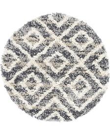 """Lochcort Shag Loc2 Gray 3' 3"""" x 3' 3"""" Round Area Rug"""