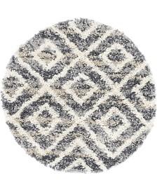 """Bridgeport Home Lochcort Shag Loc2 Gray 3' 3"""" x 3' 3"""" Round Area Rug"""