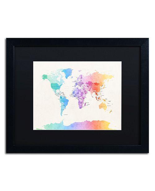 """Trademark Global Michael Tompsett 'Watercolor Political World Map' Matted Framed Art - 16"""" x 20"""""""