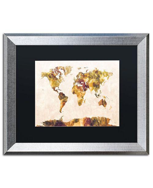 "Trademark Global Michael Tompsett 'World Map Watercolor Painting' Matted Framed Art - 16"" x 20"""