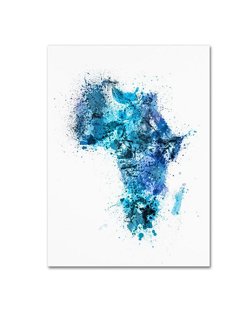 "Trademark Global Michael Tompsett 'Paint Splashes Map of Africa' Canvas Art - 18"" x 24"""