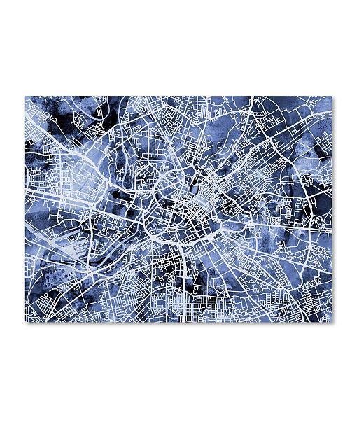"""Trademark Global Michael Tompsett 'Manchester Street Map B&W' Canvas Art - 18"""" x 24"""""""