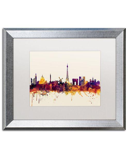 """Trademark Global Michael Tompsett 'Paris France Skyline' Matted Framed Art - 16"""" x 20"""""""
