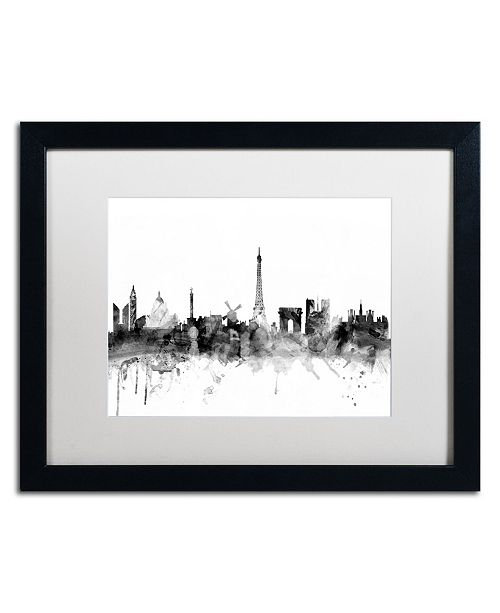 "Trademark Global Michael Tompsett 'Paris France Skyline B&W' Matted Framed Art - 16"" x 20"""