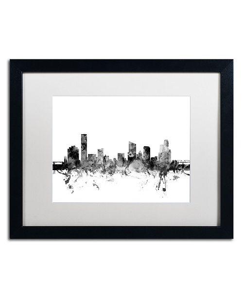 "Trademark Global Michael Tompsett 'Grand Rapids MI Skyline B&W' Matted Framed Art - 16"" x 20"""