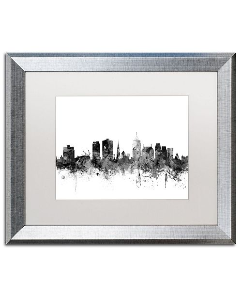 "Trademark Global Michael Tompsett 'Christchurch NZ Skyline B&W' Matted Framed Art - 16"" x 20"""