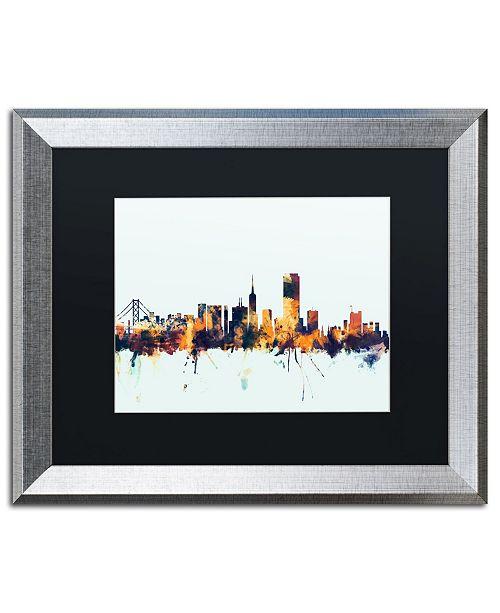 """Trademark Global Michael Tompsett 'San Francisco Skyline Blue' Matted Framed Art - 16"""" x 20"""""""