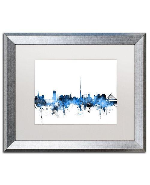 """Trademark Global Michael Tompsett 'Dublin Ireland Skyline White' Matted Framed Art - 16"""" x 20"""""""