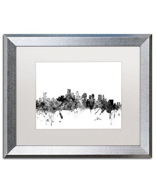 "Trademark Global Michael Tompsett 'Boston MA Skyline B&W' Matted Framed Art - 16"" x 20"""