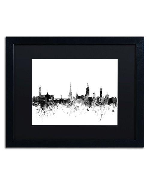 """Trademark Global Michael Tompsett 'Stockholm Sweden Skyline B&W' Matted Framed Art - 16"""" x 20"""""""