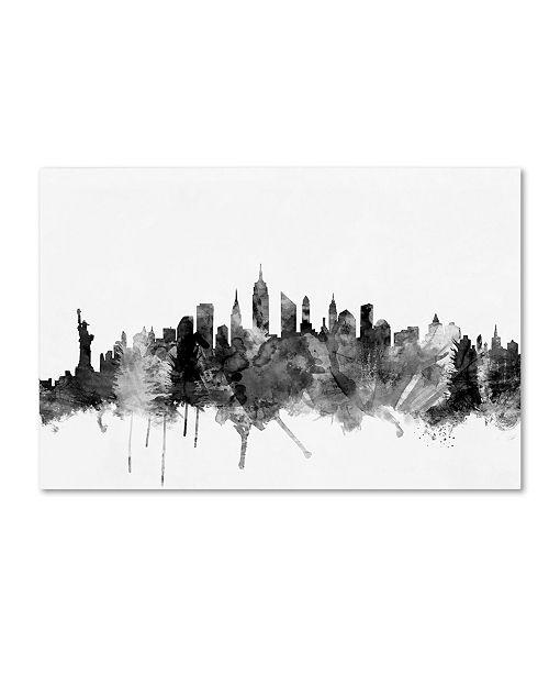 "Trademark Global Michael Tompsett 'New York City Skyline B&W' Canvas Art - 16"" x 24"""