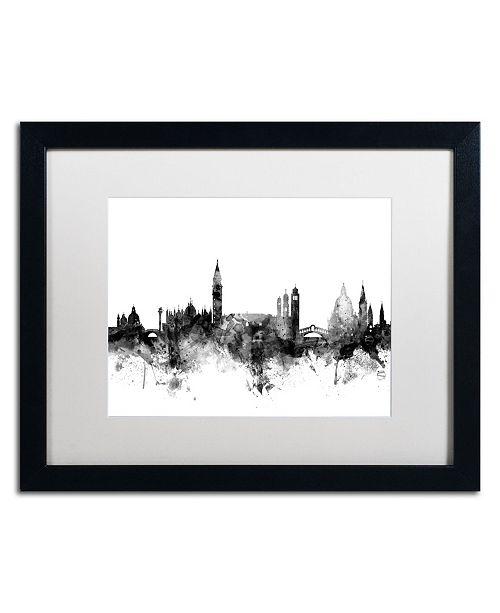 """Trademark Global Michael Tompsett 'Venice Italy Skyline B&W' Matted Framed Art - 16"""" x 20"""""""