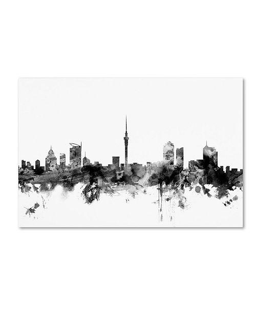 """Trademark Global Michael Tompsett 'Auckland NZ Skyline B&W' Canvas Art - 16"""" x 24"""""""