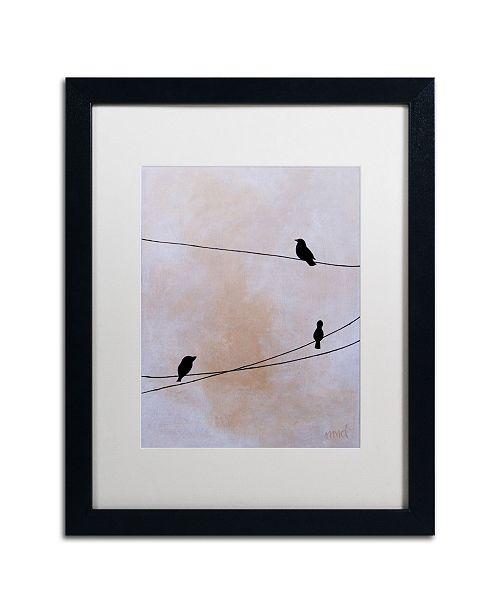 """Trademark Global Nicole Dietz 'Bird on Wire White' Matted Framed Art - 16"""" x 20"""""""