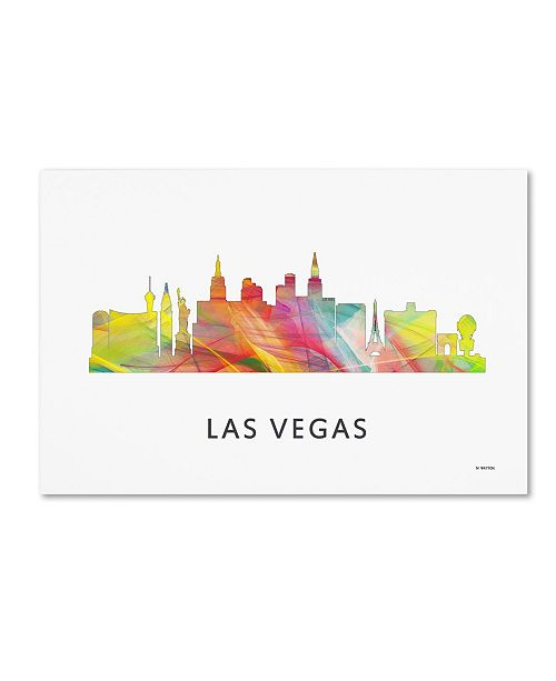 "Trademark Global Marlene Watson 'Las Vegas Nevada Skyline 2 WB-1' Canvas Art - 16"" x 24"""