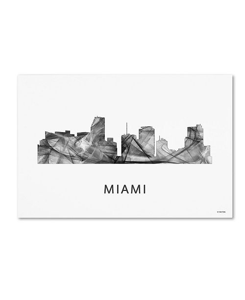 "Trademark Global Marlene Watson 'Miami Florida Skyline WB-BW' Canvas Art - 16"" x 24"""