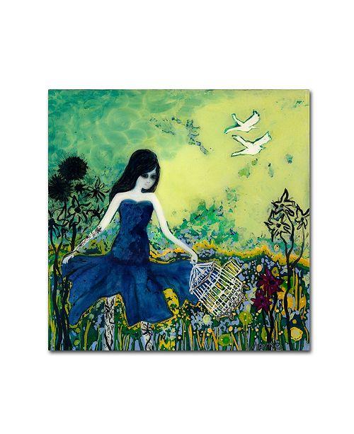"""Trademark Global Wyanne 'Big Eyed Girl Letting Go' Canvas Art - 18"""" x 18"""""""